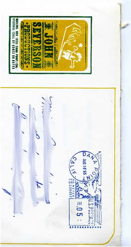 John Severson Productions envelope. Dana Point California  1965 post marked